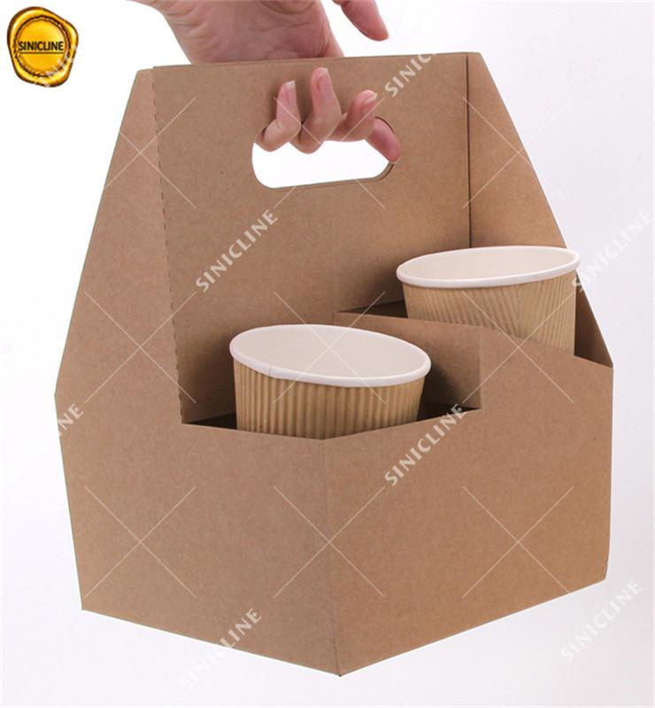 Reusable Eco Kraft Coffee Paper Cup Holder for Tak