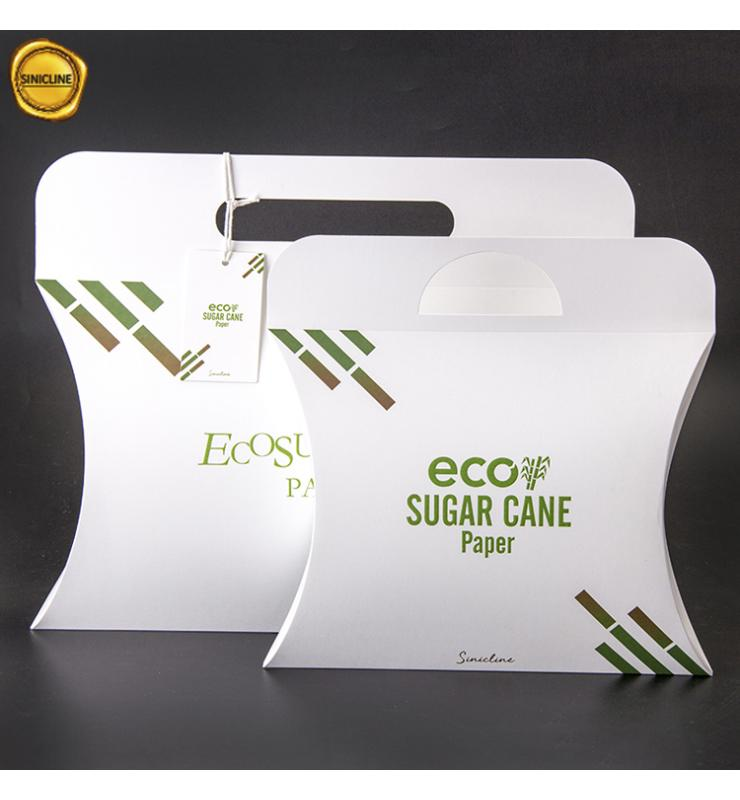 Eco Sugar Cane Paper Pillow Boxes with Handle